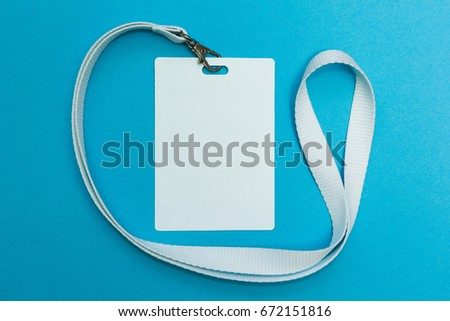 Blank ID card / badge with white belt isolated over background. Space for text. #672151816