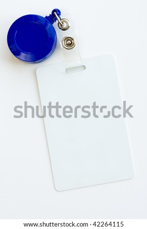 Blank ID card or badge isolated against white background