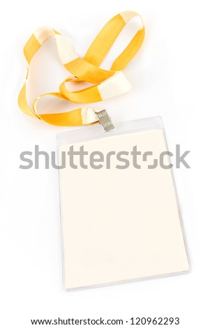 Blank ID card tag isolated on white