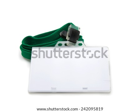 Blank ID or security card with green neck strap isolated on white. For adding your text of your choice.