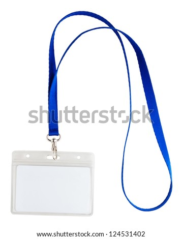 Blank identification card with blue neckband isolated on white