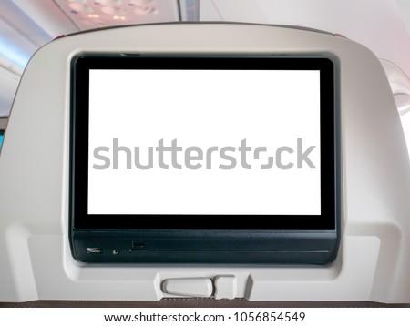 Blank In-Flight Entertainment Screen, Blank LCD Screen in Airplane