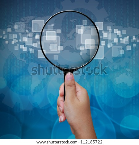 Blank in Magnifying glass screen interface on business background blue color