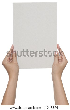 Blank invitation card in hands