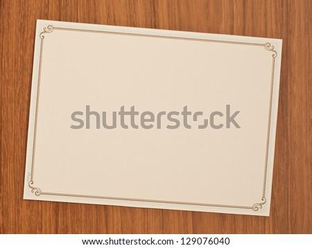 blank invitation card with vintage frame