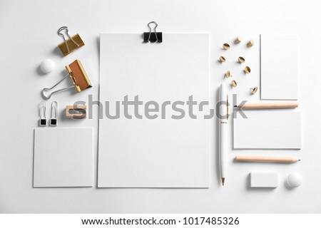 Blank items as mockups for branding on white background