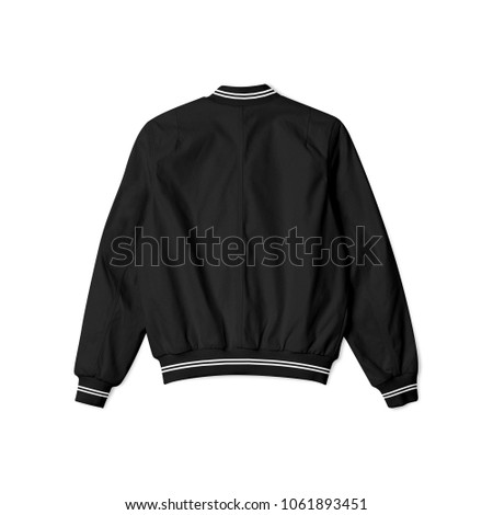blank jacket bomber baseball black with white stripe in back view on white background isolated for mockup template