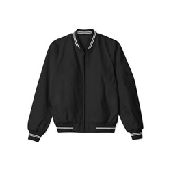 blank jacket bomber baseball black with white stripe in front view on white background isolated for mockup template