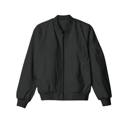 blank jacket bomber black color in front view for mockup template on white background isolated