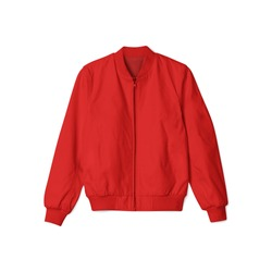 blank jacket bomber red color in front view on white background isolated suitable for mockup template