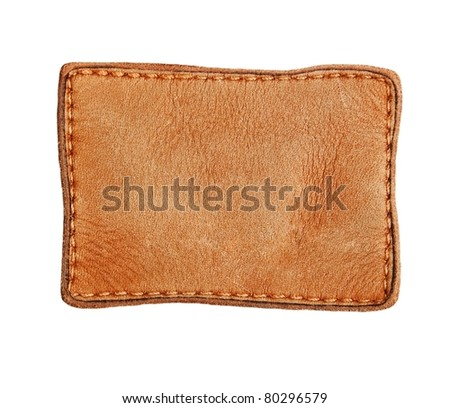 Blank jeans leather label isolated on white