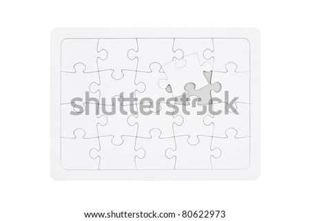 Blank jigsaw puzzle final piece coming in place. Business metaphor, insert your own image