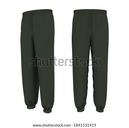 Blank joggers mockup, front and side views. Sweatpants. 3d rendering, 3d illustration. Stockfoto ©