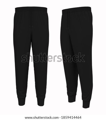Blank joggers mockup, front and side views. Sweatpants. 3d rendering, 3d illustration. Photo stock ©