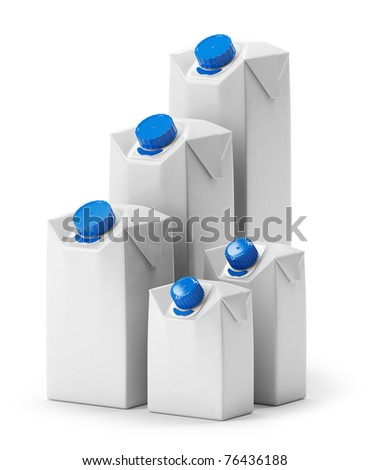 Blank juice or milk package group. Isolated on white.