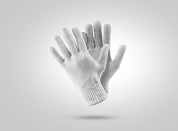 Blank knitted winter gloves mockup. Clear ski or snowboard mittens mock up, isolated. Warm hand clothes design template. Plain knited arm accessory presentation for branding.
