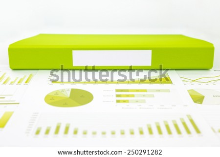 Blank label of green document file with chart, analytic graph and educational reports