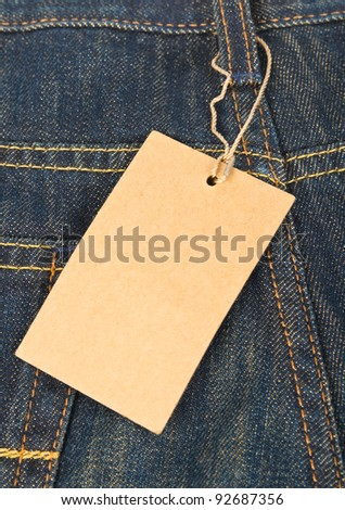 Blank label on jeans close up