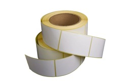 Blank Label Stickers, isolate on a white background. White roll of labels for thermal perforation. Sticky label roll
