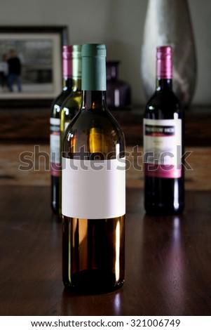Blank label wine bottle
