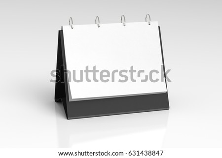 Blank landscape table top flip chart easel binder or calendar mockup standing on white background  isolated  3d illustration