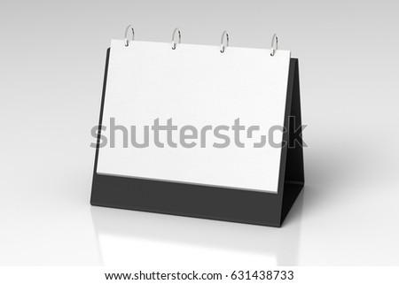Blank landscape tabletop flip-chart easel binder or calendar mockup standing on white background  isolated  3d illustration