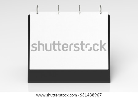 Blank landscape tabletop flip-chart easel binder or calendar mockup standing on white background  isolated with clipping path. 3d illustration