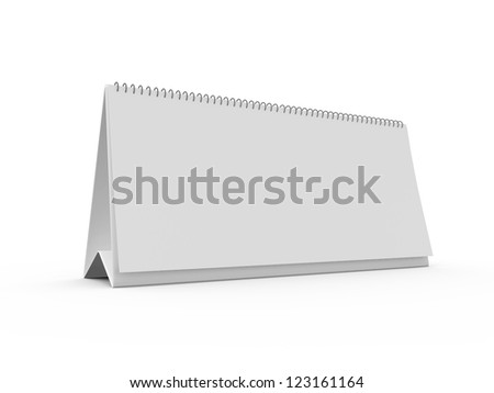 Blank large desk calendar, isolated on white background.