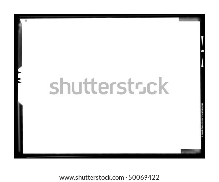 Blank large format negative picture frame,landscape format with free copy space, isolated on white background,