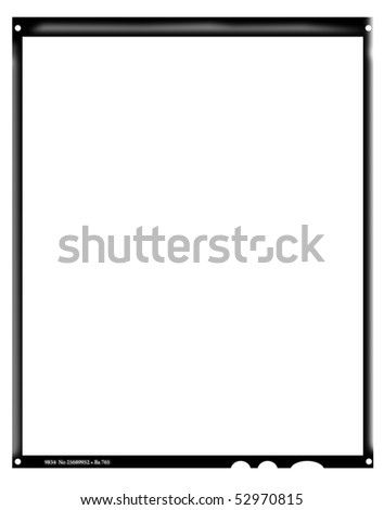 Blank large format negative picture frame,with free copy space, isolated on white background,