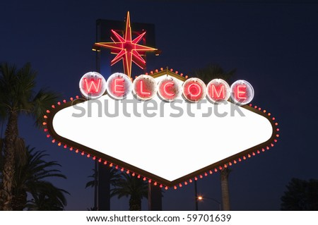 Blank Las Vegas sign with Palms at night.  Overhead wires were removed.