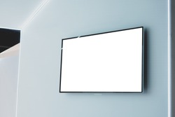 Blank lcd smart TV presentation at event convention exhibit trade show and booth in conference hall, Mock up or white blank advertising background
