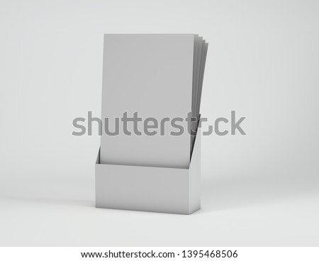 Blank leaflets standing in container mock up 3d illustration.
