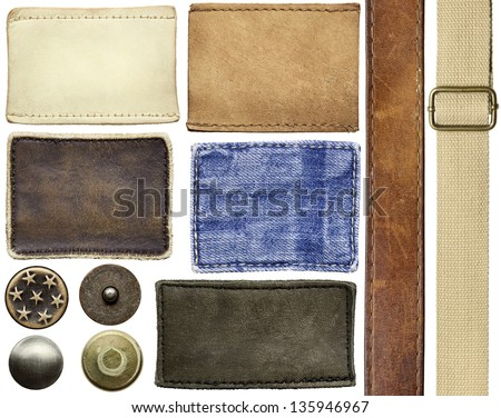 Blank leather jeans labels, buttons, rivets, straps.