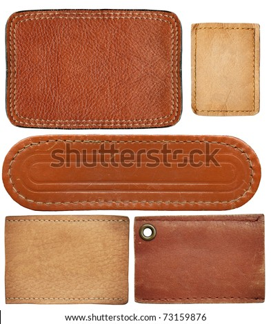 Blank leather jeans labels isolated on white background