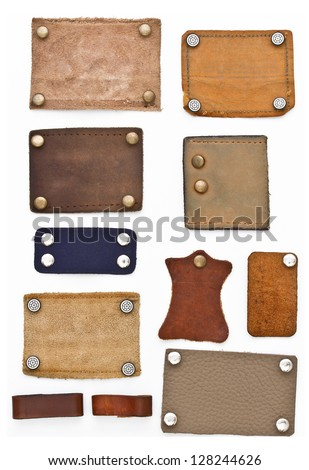 Blank leather jeans labels on white background
