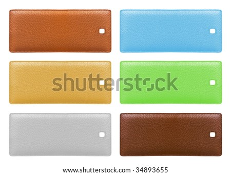 Blank leather price tags isolated over white background. Different colors. Copyspace