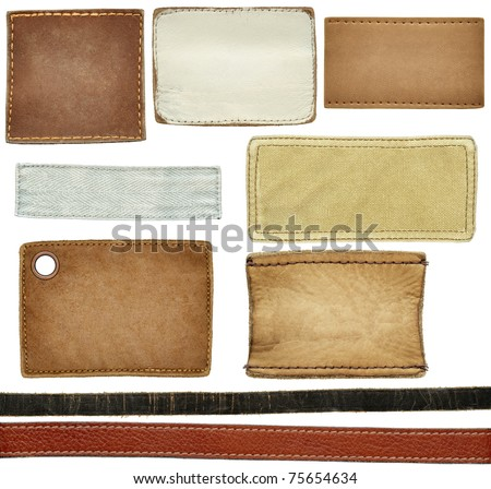 Blank leather, textile jeans labels, straps isolated on white background