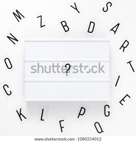 blank lightbox and letters over white background