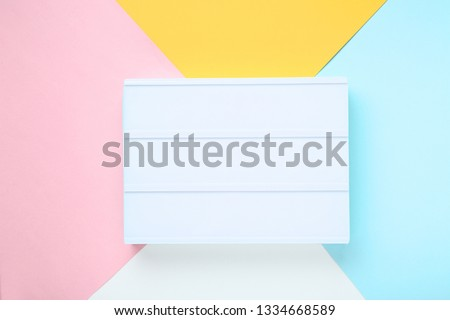 Blank lightbox on colorful background