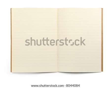 blank lined exercise book on white, visible shadow in front - stock photo