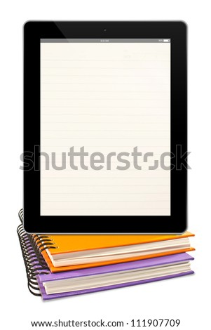 blank lined  page tablet computer and colorful books isolated on white background