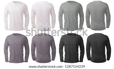 Blank long sleeved shirt mock up template, front and back view, isolated on white, plain black white and gray t-shirt mockup. Tee sweater sweatshirt design presentation for print.