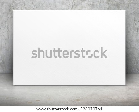 Blank long white paper poster canvas at grunge concrete room,Mock up template for adding your content or design,Business presentation. #526070761
