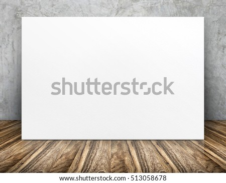 Blank long white paper poster leaning at concrete wall on wooden floor in perspective room,Business mock up presentation design #513058678