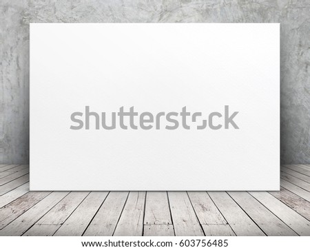 Blank long white paper poster leaning at concrete wall on wooden plank floor in perspective room,Business mock up presentation design #603756485