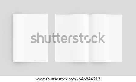 Blank magazine or brochure mockup isolated on soft gray background. 3D illustrating