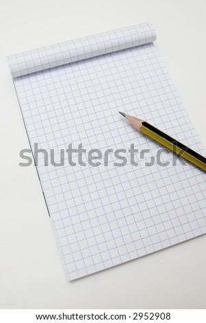 Blank math notebook ready for writing, and graphics