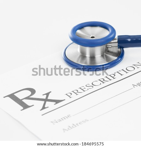 Blank medical prescription with stethoscope - 1 to 1 ratio