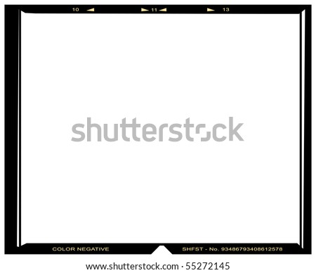 Blank medium format color negative picture frame,with free copy space, isolated on white background,